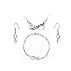 Σετ Κοσμήματα Timothy Stone 4 τμχ Χρώματος Ασημί με Κρύσταλλα Swarovski® Amethyst