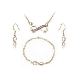 Σετ Κοσμήματα Timothy Stone 4 τμχ Χρώματος Χρυσό με Κρύσταλλα Swarovski® Amethyst