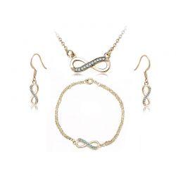 Σετ Κοσμήματα Timothy Stone 4 τμχ Χρώματος Χρυσό με Κρύσταλλα Swarovski® Aqua