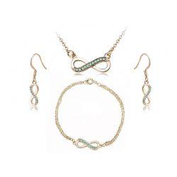 Σετ Κοσμήματα Timothy Stone 4 τμχ Χρώματος Χρυσό με Κρύσταλλα Swarovski® Emeraude