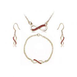 Σετ Κοσμήματα Timothy Stone 4 τμχ Χρώματος Χρυσό με Κρύσταλλα Swarovski® Ruby