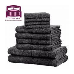 Σετ με 10 Πετσέτες Dickens από 100% Αιγυπτιακό Βαμβάκι Χρώματος Μαύρο DTOWEL-10BL