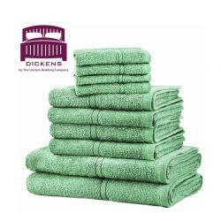 Σετ με 10 Πετσέτες Dickens από 100% Αιγυπτιακό Βαμβάκι Χρώματος Πράσινο DTOWEL-10GRN