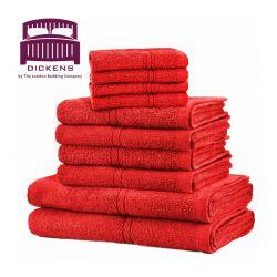 Σετ με 10 Πετσέτες Dickens από 100% Αιγυπτιακό Βαμβάκι Χρώματος Κόκκινο DTOWEL-10RE