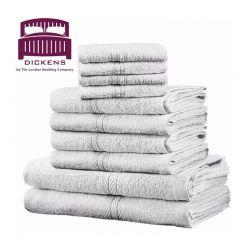 Σετ με 10 Πετσέτες Dickens από 100% Αιγυπτιακό Βαμβάκι Χρώματος Λευκό DTOWEL-10WH