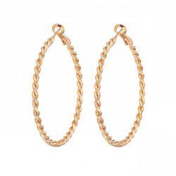 Σκουλαρίκια Philip Jones 50mm Diamond Cut Χρώματος Ροζ - Χρυσό