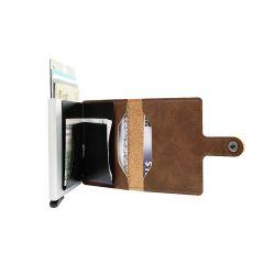 Αυτόματη Θήκη για Κάρτες με RFID Προστασία Χρώματος Καφέ GB-7195