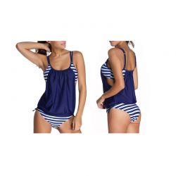 Γυναικείο Ριγέ Μαγιό Tankini Χρώματος Μπλε MWS3913