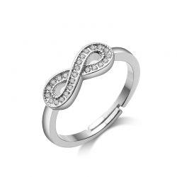 Δαχτυλίδι Infinity Philip Jones Χρώματος Ασημί με Κρύσταλλα Swarovski®