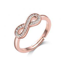 Δαχτυλίδι Infinity Philip Jones Χρώματος Ροζ - Χρυσό με Κρύσταλλα Swarovski®