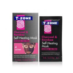 Self - Heating Μάσκα Καθαρισμού Προσώπου με Άνθρακα και Μπαμπού 4 τμχ T-Zone 01095TZC