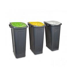 Σετ 3 Κάδων Ανακύκλωσης Με Έγχρωμο Καπάκι 3 x 35 Lt MWS3130