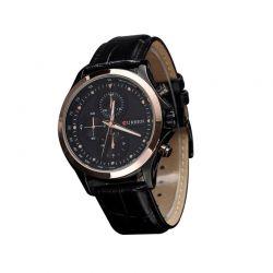 Αναλογικό Ρολόι με Εφέ Χρονογράφου και Μαύρο Δερμάτινο Λουράκι MWS1104