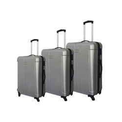 Σετ 3 Βαλίτσες Χρώματος Ασημί W9004