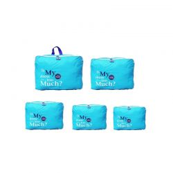 Σετ 5 Αδιάβροχα Τσαντάκια Ταξιδίου σε Διάφορα Μεγέθη Χρώματος Μπλε SPM 5pcluggorgan-blue