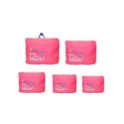 Σετ 5 Αδιάβροχα Τσαντάκια Ταξιδίου σε Διάφορα Μεγέθη Χρώματος Ροζ SPM 5pcluggorgan-pink