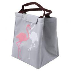 Ισοθερμική Τσάντα Φαγητού με Σχέδιο Φλαμίνγκο Χρώματος Γκρι V1 VL3192