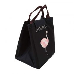 Ισοθερμική Τσάντα Φαγητού με Σχέδιο Φλαμίνγκο Χρώματος Μαύρο V1 SPM VL3191