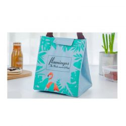 Ισοθερμική Τσάντα Φαγητού με Σχέδιο Φλαμίνγκο Χρώματος Πράσινο V1 VL3193