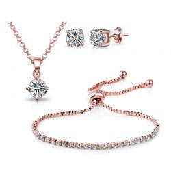Σετ Κοσμήματα Philip Jones Solitaire Friendship 4 τμχ με Κρύσταλλα Swarovski®