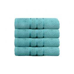 Σετ με 4 Πετσέτες Σώματος με Ρίγα Dickens από 100% Luxury Αιγυπτιακό Βαμβάκι Χρώματος Aqua DSILBATH-AQUA