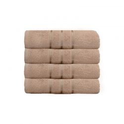 Σετ με 4 Πετσέτες Σώματος με Ρίγα Dickens από 100% Luxury Αιγυπτιακό Βαμβάκι Χρώματος Ανοιχτό Καφέ DSILBATH-MINK