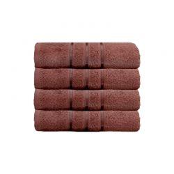 Σετ με 4 Πετσέτες Σώματος με Ρίγα Dickens από 100% Luxury Αιγυπτιακό Βαμβάκι Χρώματος Καφέ DSILBATH-CHO