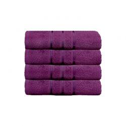 Σετ με 4 Πετσέτες Σώματος με Ρίγα Dickens από 100% Luxury Αιγυπτιακό Βαμβάκι Χρώματος Μωβ DSILBATH-RASP