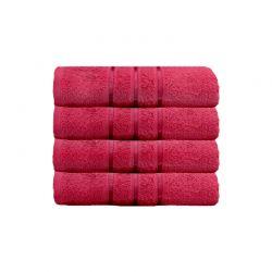 Σετ με 4 Πετσέτες Σώματος με Ρίγα Dickens από 100% Luxury Αιγυπτιακό Βαμβάκι Χρώματος Κόκκινο DSILBATH-RED