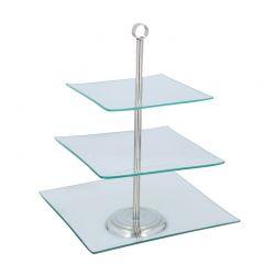Γυάλινη Πιατέλα Σερβιρίσματος με 3 Τετράγωνα Επίπεδα 21 x 21 cm Alpina Switzerland 08764