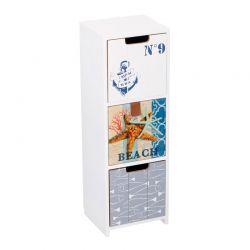 Ξύλινη Όρθια Σύνθεση Οργάνωσης με 3 Συρτάρια 11.5 x 10 x 34 cm Arti Casa 07414