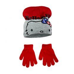 Βρεφικό Σετ Σκουφάκι και Γάντια Χρώματος Κόκκινο Hello Kitty Disney NH4326