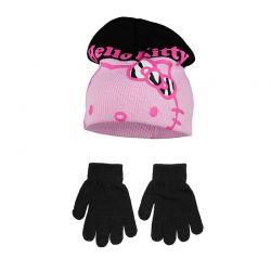 Βρεφικό Σετ Σκουφάκι και Γάντια Χρώματος Μαύρο Hello Kitty Disney NH4326