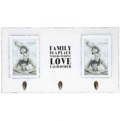 Ξύλινη Κρεμάστρα Τοίχου με 3 Άγκιστρα και 2 Κορνίζες 46 x 25.5 x 9 cm Arti Casa Χρώματος Λευκό 03753