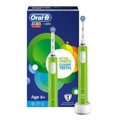 Επαναφορτιζόμενη Ηλεκτρική Παιδική Οδοντόβουρτσα Oral-B Junior 6+ Ετών Χρώματος Πράσινο