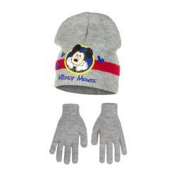 Παιδικό Σετ Σκούφος και Γάντια Χρώματος Γκρι Mickey Disney HO4118