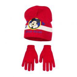 Παιδικό Σετ Σκούφος και Γάντια Χρώματος Κόκκινο Mickey Disney HO4118