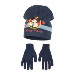 Παιδικό Σετ Σκούφος και Γάντια Χρώματος Μπλε Mickey Disney HO4118