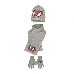 Παιδικό Σετ Σκούφος - Κασκόλ και Γάντια Χρώματος Γκρι Spiderman Disney HM4153