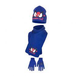 Παιδικό Σετ Σκούφος - Κασκόλ και Γάντια Χρώματος Μπλε Spiderman Disney HM4153