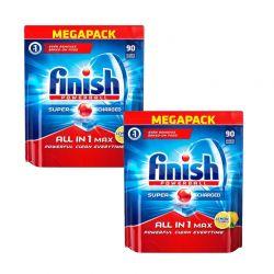 Απορρυπαντικό Πλυντηρίου Πιάτων Finish All In 1 Max Λεμόνι 180 Ταμπλέτες Finish-AllinoneL-180