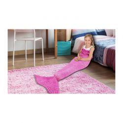 Παιδική Πλεκτή Κουβέρτα Γοργόνα 140 x 70 cm Χρώματος Φούξια SPM KidsMermaid-HPNK