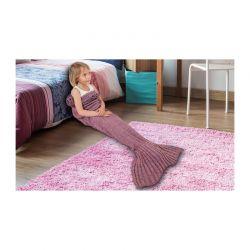 Παιδική Πλεκτή Κουβέρτα Γοργόνα 140 x 70 cm Χρώματος Ροζ SPM KidsMermaid-LPNK
