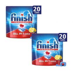 Απορρυπαντικό Πλυντηρίου Πιάτων Finish All In 1 Max Λεμόνι 40 Ταμπλέτες Finish-Tabs-LMN 2PCS