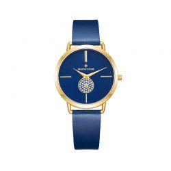 Γυναικείο Ρολόι Χρώματος Μπλε με Δερμάτινο Λουράκι και Κρύσταλλα Swarovski® Timothy Stone Riviera Collection R-014-GDBL