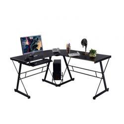 Γωνιακό Γραφείο με Μεταλλική Βάση και Θέση για Υπολογιστή και Πληκτρολόγιο 170 x 250 cm Χρώματος Μαύρο Hoppline HOP1000878-1