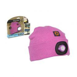 Παιδικός Σκούφος με Ενσωματωμένο Φακό LED Discovery Adventures Χρώματος Ροζ