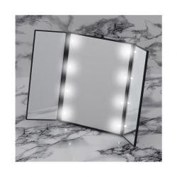 Τριπλός Φορητός Καθρέπτης Ταξιδίου με Οθόνη Αφής LED και Βάση GloBrite Χρώματος Μαύρο VL1899