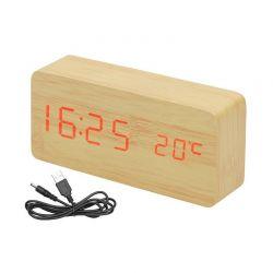 Ξύλινο Επιτραπέζιο Ρολόι - Ξυπνητήρι με Θερμόμετρο και Αισθητήρα Ήχου Δόνησης LED SPM 7037