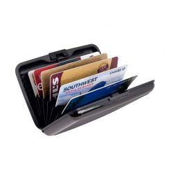 Μεταλλικό Πορτοφόλι Αλουμινίου για Πιστωτικές Κάρτες με Αντικλεπτική Προστασία RFID Χρώματος Μαύρο 1043